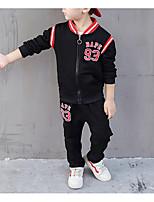 Недорогие -Дети Мальчики Классический Однотонный Длинный рукав Обычный Обычная Хлопок / Полиэстер Набор одежды Синий 100