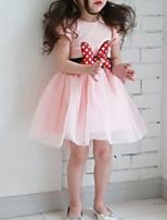 Недорогие -Дети Девочки Классический Повседневные Однотонный Длинный рукав До колена Хлопок / Полиэстер Платье Черный 130