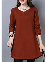 Недорогие -женская выходная футболка - сплошной цветной шею