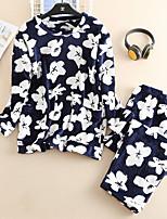 abordables -Grandes Tailles Col Arrondi Costumes Pyjamas Femme Fleur