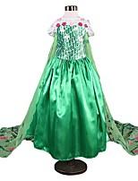 abordables -Princesse Rétro Costume Fille Robes Costume de Soirée Bleu ciel / Vert / Bleu Vintage Cosplay Polyester Sans Manches Long