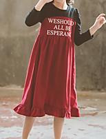 Недорогие -Дети Девочки Классический Однотонный Длинный рукав Хлопок / Полиэстер Платье Красный 140