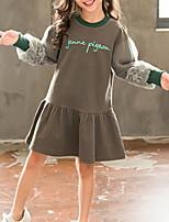 Недорогие -Дети Девочки Классический Однотонный Длинный рукав Платье Серый 140