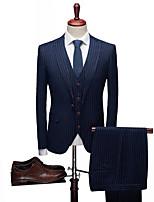 billiga -Enfärgad / Randig Standardpassform Elastan / polyster Kostym - Spetsig Singelknäppt 1 Knapp