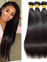Недорогие -3 Связки Бразильские волосы Индийские волосы Прямой 8A Натуральные волосы Необработанные натуральные волосы Подарки Косплей Костюмы Человека ткет Волосы 8-28 дюймовый Естественный цвет