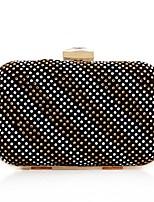 Недорогие -Жен. Мешки Полиэстер Вечерняя сумочка Бусины / Кристаллы Сплошной цвет Цвет шампанского / Черный