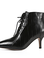 Недорогие -Жен. Наппа Leather Осень Милая / Минимализм Ботинки На шпильке Заостренный носок Ботинки Черный / Серый