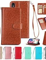 Недорогие -Кейс для Назначение Apple iPhone XR / iPhone XS Max Кошелек / Бумажник для карт / Магнитный Чехол Однотонный Твердый Кожа PU для iPhone XS / iPhone XR / iPhone XS Max