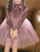 Недорогие -Дети Девочки Классический Повседневные Однотонный Длинный рукав Хлопок / Полиэстер Платье Розовый 100