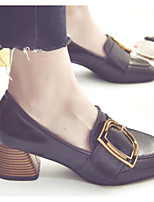 Недорогие -Жен. Комфортная обувь Полиуретан Наступила зима Обувь на каблуках На толстом каблуке Черный / Бежевый