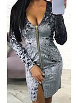 Недорогие -Жен. Классический Тонкие Брюки Черный / Глубокий V-образный вырез / Для клуба / Сексуальные платья