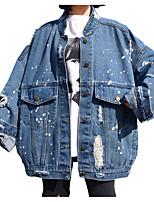 Недорогие -Жен. Повседневные Уличный стиль Обычная Джинсовая куртка, Однотонный Отложной Длинный рукав Полиэстер Синий Один размер / Свободный силуэт