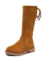 Недорогие -Девочки Обувь Синтетика Зима сутулятся сапоги Ботинки Бант для Черный / Коричневый / Винный / Сапоги до середины икры