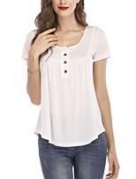 Недорогие -женская свободная футболка - сплошной цветной шею