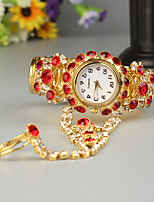 baratos -FEIS Mulheres Bracele Relógio Quartzo Cronógrafo Lega Banda Analógico-Digital Fashion Dourada - Vermelho