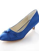 abordables -Femme Satin Automne Chaussures de mariage Kitten Heel Bout rond Noeud Rouge / Bleu / Mariage / Soirée & Evénement