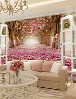 Недорогие -обои / фреска холст Облицовка стен - Клей требуется Цветочный принт / Деревья / Листья / 3D
