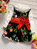 baratos -Bébé Para Meninas Activo / Básico Diário / Para Noite Floral Manga Longa Altura dos Joelhos Algodão Vestido Preto