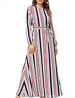 baratos -Mulheres balanço Vestido Listrado Longo