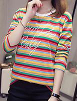 Недорогие -женский плюс размер хлопка свободная футболка - полосатая шея