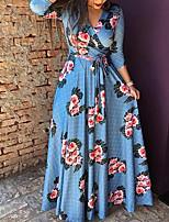 abordables -Femme Fleur Soirée / Plage Rétro Maxi Abaya Robe Col en V Bleu M L XL Manches Longues
