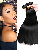 Недорогие -3 Связки Монгольские волосы Прямой 8A Натуральные волосы Необработанные натуральные волосы Подарки Косплей Костюмы Головные уборы 8-28 дюймовый Естественный цвет Ткет человеческих волос