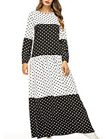 abordables -Femme Grandes Tailles Basique Maxi Ample Balançoire Robe Points Polka Blanc XXL XXXL XXXXL Manches Longues
