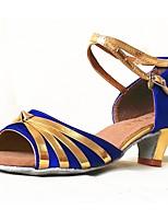 abordables -Femme Chaussures Latines Satin Talon Fantaisie Talon épais Personnalisables Chaussures de danse Bleu