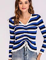 abordables -Tee-shirt Femme, Rayé Lacet Actif / Basique Bleu & blanc