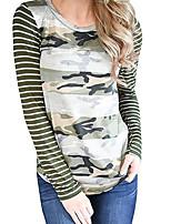 Недорогие -женская футболка - камуфляжная / полосатая шея