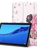 Недорогие -Кейс для Назначение Huawei MediaPad M5 10 / Huawei Mediapad M5 Lite 10 со стендом / Флип / С узором Чехол Соблазнительная девушка Твердый Кожа PU для Huawei Mediapad M5 Lite 10 / MediaPad M5 10 (Pro