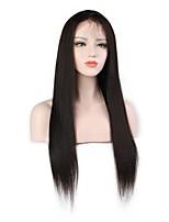 Недорогие -Не подвергавшиеся окрашиванию человеческие волосы Remy Полностью ленточные Парик Бразильские волосы Вытянутые Парик Стрижка каскад Средняя часть Боковая часть 130% Плотность волос / Природные волосы
