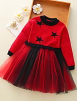 Недорогие -Дети Девочки Классический Геометрический принт Длинный рукав Платье Красный 100