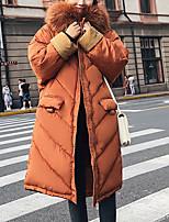 Недорогие -Жен. Повседневные Однотонный Длинная На подкладке, Полиэстер Длинный рукав Капюшон Коричневый / Черный / Хаки L / XL / XXL / Свободный силуэт