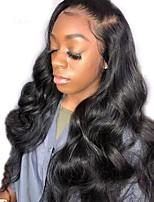 Недорогие -человеческие волосы Remy Необработанные натуральные волосы 360 Лобовой Фронтальная часть Лента спереди Парик Бразильские волосы Волнистый Естественные кудри Парик Глубокое разделение 150 / Glueless