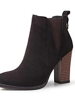 Недорогие -Жен. Замша / Кожа Осень Ботинки На толстом каблуке Закрытый мыс Ботинки Черный / Серый / Черный / Желтый