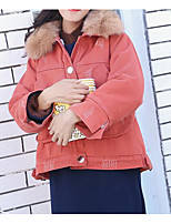 Недорогие -Жен. Повседневные Активный Однотонный Обычная На подкладке, Полиэстер Длинный рукав Рубашечный воротник Оранжевый / Желтый S / M / L