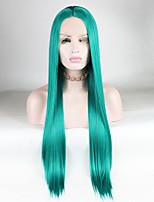 Недорогие -Синтетические кружевные передние парики Прямой / Шелковисто-прямые Средняя часть 180% Человека Плотность волос Искусственные волосы 14-26 дюймовый Мягкость / Шелковистость / Гладкие Зеленый Парик Жен.