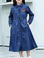 Недорогие -Дети Девочки Классический Однотонный Длинный рукав Платье Синий 140