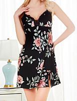 abordables -Femme Satin & Soie Vêtement de nuit Imprimé, Fleur