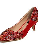 abordables -Femme Satin Automne Chaussures de mariage Talon Bottier Rouge