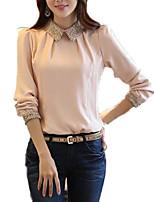 Недорогие -женская выбирая тонкую блузку - сплошной цветной воротник рубашки