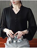 Недорогие -женская блузка - сплошной цветной шея
