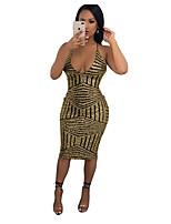 Недорогие -Жен. Элегантный стиль Обтягивающие Брюки Золотой / На бретелях / Сексуальные платья