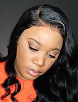 Недорогие -Не подвергавшиеся окрашиванию Натуральные волосы 6x13 Тип замка Лента спереди Парик Бразильские волосы Естественные кудри Парик Глубокое разделение Боковая часть 250% Плотность волос