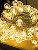 Недорогие -5 метров Гирлянды 50 светодиоды Тёплый белый Декоративная Аккумуляторы AA 1 комплект