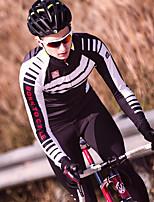 abordables -SANTIC Manches Longues Maillot et Cuissard Long de Cyclisme - Noir / Rouge Vélo Garder au chaud, Hiver Rayure / Micro-élastique