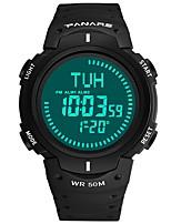 baratos -Homens Relógio Esportivo Japanês Digital 30 m Impermeável Calendário Bússula Silicone Banda Digital Fashion Preta / Verde - Preto Verde