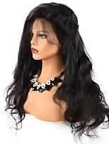 Недорогие -человеческие волосы Remy Полностью ленточные Лента спереди Парик Бразильские волосы Волнистый Черный Парик Ассиметричная стрижка 130% 150% 180% Плотность волос Женский Sexy Lady