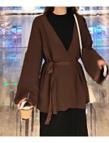 Недорогие -женский хлопок тонкий куртка - сплошной цвет стенд